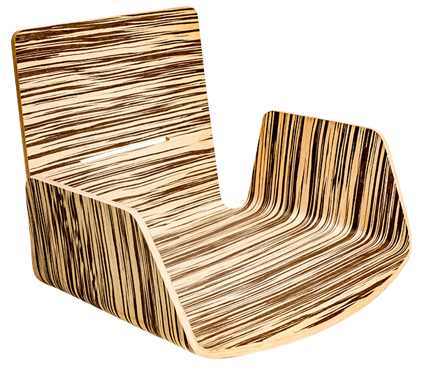 monoscocca poltrona effetto zebra in legno curvo
